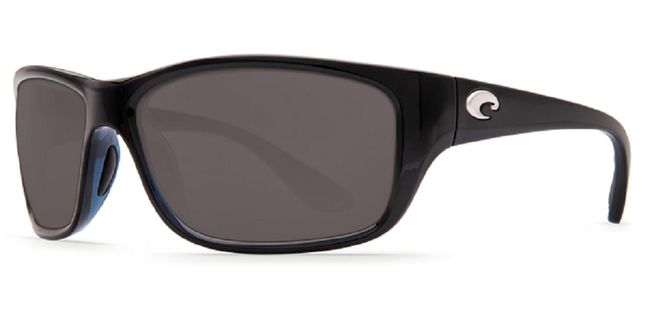 Costa Del Mar Tasman Sea Wrap Polarized Sunglasses in Shiny Black/Grey 580P 63mm