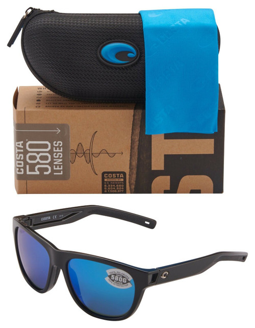 Costa Del Mar Bayside Polarized Sunglasses Shiny Black/Blue Mirror 580G Glass 56mm