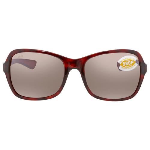 Costa Del Mar Kare Polarized Sunglasses Rose Red Tortoise & Copper Silver Mirror