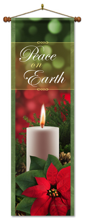 Peace on Earth Banner with Candle