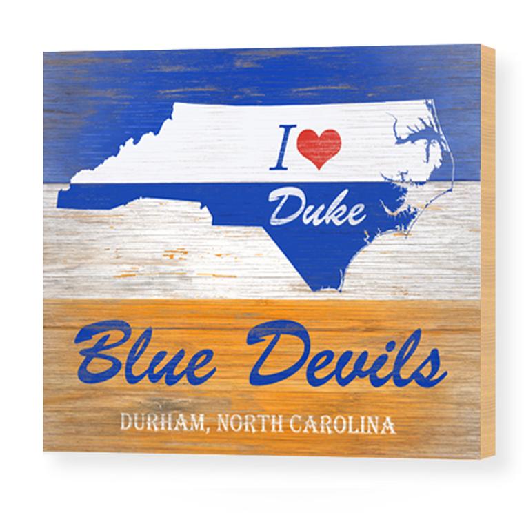 "I love Duke Blue Devils 8""x10"" Wood Panel"