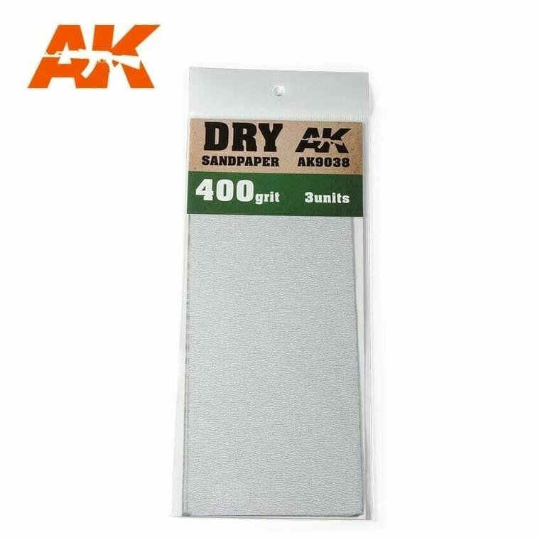 Sandpaper- Dry, 400 Grit, 3 Units - AK09038