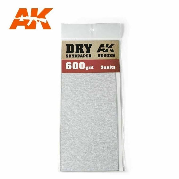 Sandpaper- Dry, 600 Grit, 3 Units - AK09039