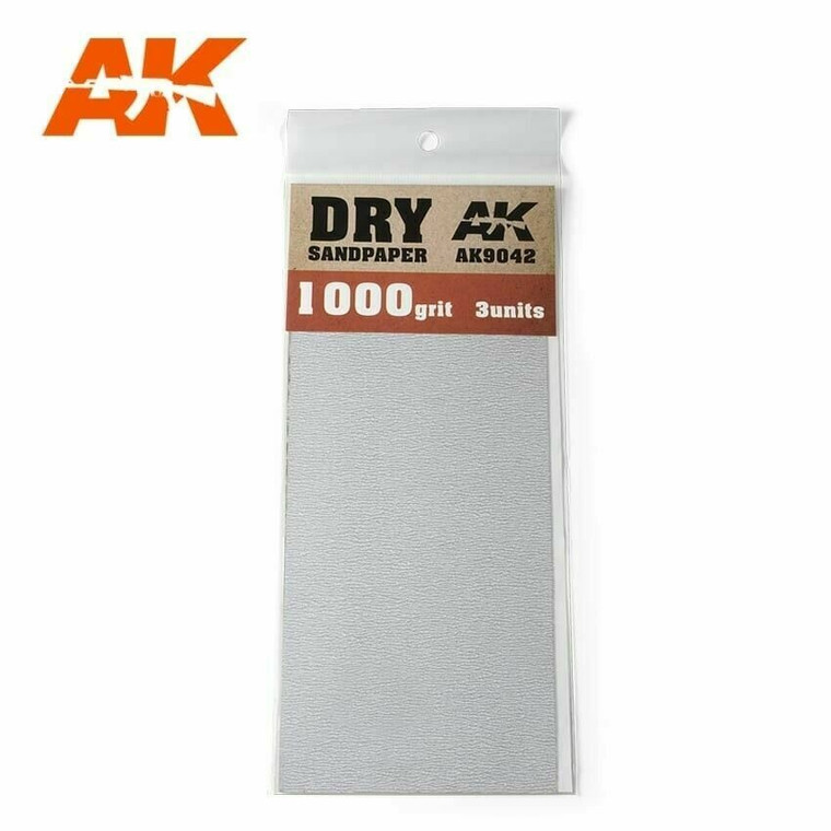 Sandpaper- Dry, 1000 Grit, 3 Units - AK09042