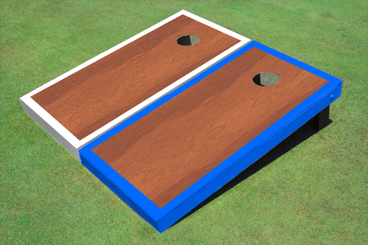 Rosewood Stained Center White And Royal Blue Border Cornhole Board