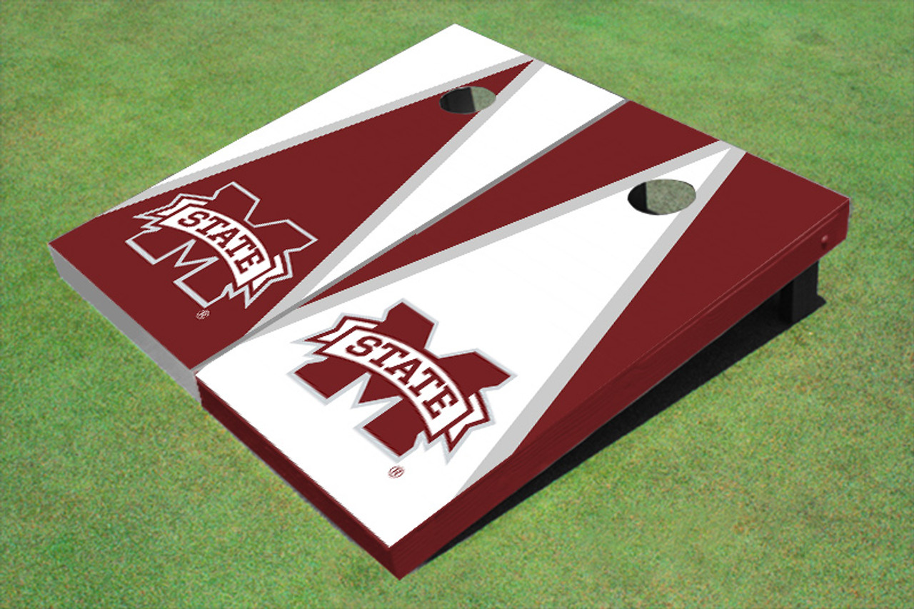 NCAA Mississippi State University M White Rosewood Matching Borders Cornhole Boards