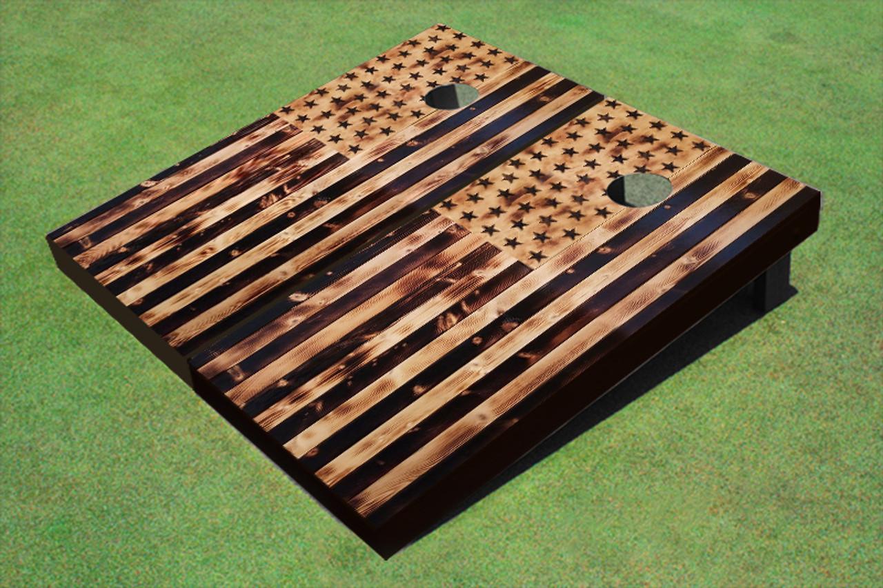 Custom American Flag Burned Wood Look Custom Cornhole Board