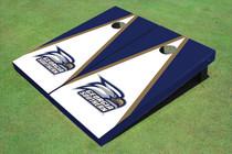Georgia Southern University Head Logo White And Blue Matching Triangle Cornhole Boards