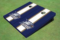 Georgia Southern University Head Logo White And Blue Matching Long Stripe Cornhole Boards
