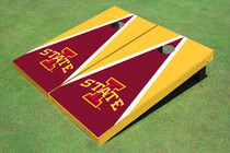 "Iowa State University ""I"" Red And Yellow Matching Triangle Cornhole Boards"