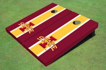 """Iowa State University """"I"""" Yellow And Red Matching Long Stripe Cornhole Boards"""