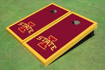 """Iowa State University """"I"""" Yellow Matching Border Cornhole Boards"""