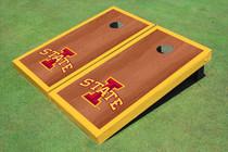 """Iowa State University """"I"""" Yellow Rosewood Matching Borders Cornhole Boards"""