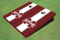 "Mississippi State University ""M"" White And Maroon Matching Long Stripe Cornhole Boards"