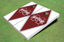 "Mississippi State University ""M"" Maroon And White Matching Diamond Cornhole Boards"