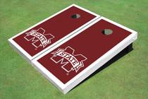 "Mississippi State University ""M"" White Matching Border Cornhole Boards"