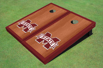 "Mississippi State University ""M"" Maroon Rosewood Matching Border Borders Cornhole Boards"