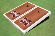 "Mississippi State University ""M"" White Rosewood Matching Borders Cornhole Boards"