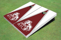 Mississippi State University Bulldog Maroon And White Matching Triangle Cornhole Boards