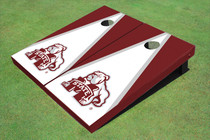 Mississippi State University Bulldog White And Maroon Matching Triangle Cornhole Boards