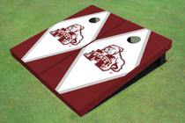 Mississippi State University Bulldog White And Maroon Matching Diamond Cornhole Boards