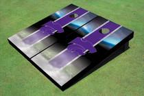 Kansas State University Wildcats Field Long Strip Matching Purple Themed Cornhole Boards