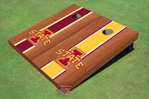 "Iowa State University ""I"" Rosewood Alternating Long Stripe Cornhole Boards"