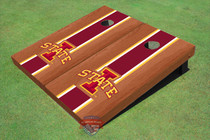 "Iowa State University ""I""  Red Rosewood Matching Long Strip Cornhole Boards"