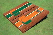 University Of Miami Rosewood Alternating Long Stripe Cornhole Boards