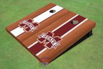 "Mississippi State University ""M"" Rosewood Alternating Long Stripe Cornhole Boards"