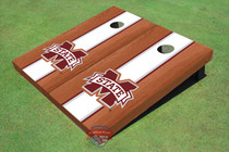"Mississippi State University ""M"" White Rosewood Matching Long Strip Cornhole Boards"