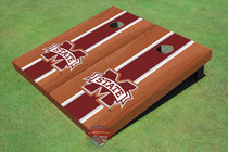 "Mississippi State University ""M"" Maroon Rosewood Matching Long Stripe Cornhole Boards"