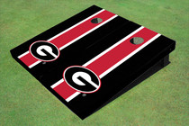 "University Of Georgia ""G"" Red And Black Matching Long Stripe Cornhole Boards"