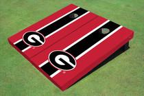 "University Of Georgia ""G"" Black And Red Matching Long Stripe Cornhole Boards"