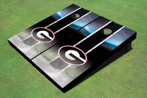 "University Of Georgia ""G"" Field Long Strip Matching Black Themed Cornhole Boards"