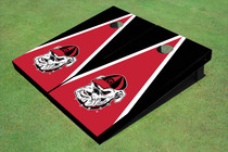 """University Of Georgia """"Hairy Dawg"""" Red And Black Matching Triangle Cornhole Boards"""