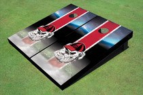 "University Of Georgia ""Hairy Dawg"" Field Long Stripe Matching Red Themed Cornhole Boards"