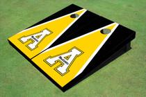 """Appalachian State University """"A"""" Yellow And Black Matching Triangle Cornhole Boards"""