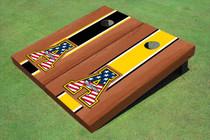 "Appalachian State University Patriotic ""A"" Rosewood Alternating Long Stripe Cornhole Boards"