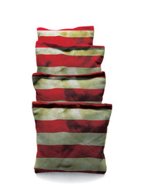 4 American Flag Stripes Grunge Themed Cornhole Bags