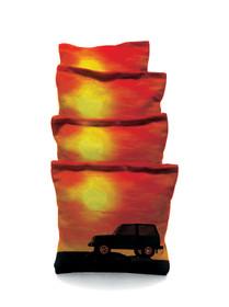4 Jeep Sunset Themed Cornhole Bags
