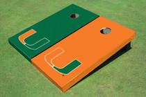 University Of Miami Alternating Solid Cornhole Boards