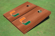 University Of Miami Solid Rosewood Cornhole Boards