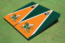 "University Of Miami ""The IBIS"" Orange And Green Matching Triangle Cornhole Boards"