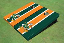"University Of Miami ""The IBIS"" Alternating Long Stripe Cornhole Boards"