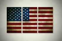 Rustic American Flag Elegant Wall Art