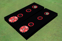 Custom Black With Fire Fighter Maltese Crosss Themed  Washer Toss Set