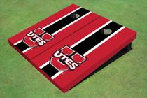 University Of Utah 'UTES' Black And Red Matching Long Stripe Cornhole Boards