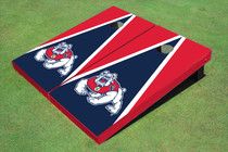 Fresno State Bulldog Navy Blue And Red Matching Triangle Cornhole Boards
