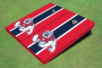 Fresno State Bulldog Navy Blue And Red Matching Long Stripe Cornhole Boards